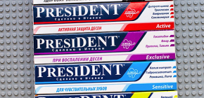 Toothpastes President, especially their composition and feedback on the application